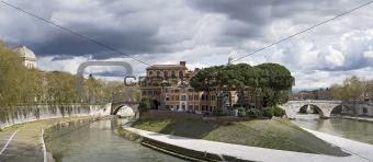 Isola Tiberina landscape - Rome, Italy