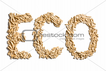 word eco made of wood pellets