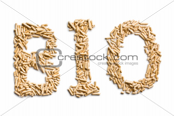 word bio made of wood pellets