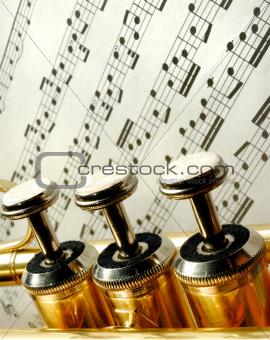 Three trumpet valves