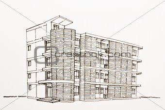 Architectural wire-frame plan