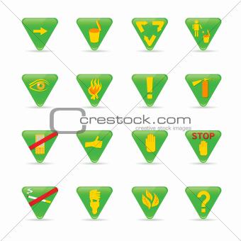 Icon set Green Triangles