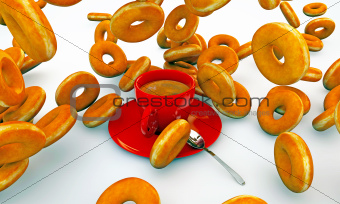 donuts falling on a cup of coofee