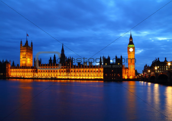 Big Ben and House of Parliament at River Thames