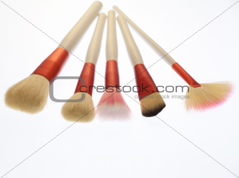 Professional makeup brushes on white background