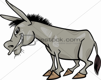 Gray donkey cartoon illustration