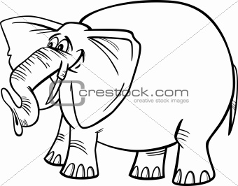 elephant cartoon illustration for coloring