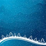Just realistic beautiful snow on a blue background