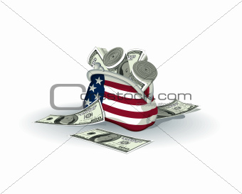 American wallet full of dollars