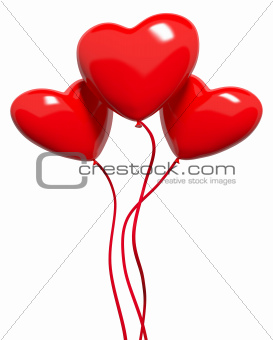 Three red hearts-balloons