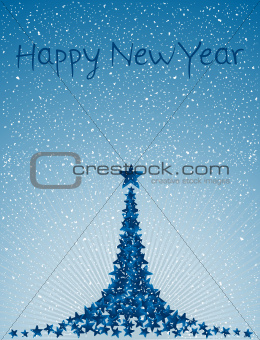 Christmas card with blue christmas tree of stars