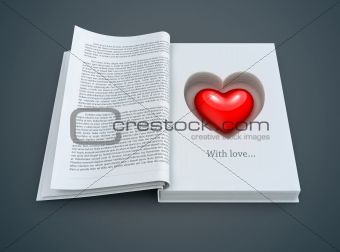 open book with red heart inside