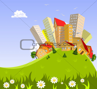 abstract vector city - summer