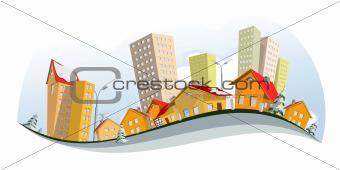 Vector city - winter