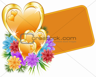 Valentine gold hearts and flowers
