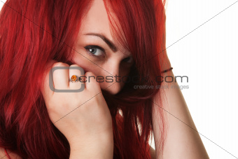 Woman Covering Mouth with Hair