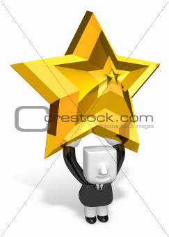 3d business man holding big gold star