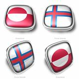 Greenland and Faroe Islands 3d metallic square flag button 