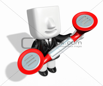 3d business man standing in a circle with their phone