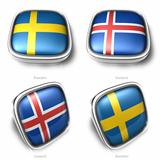 Sweden and Iceland 3d metallic square flag button 