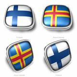 Finland and Aland Islands 3d metallic square flag button 