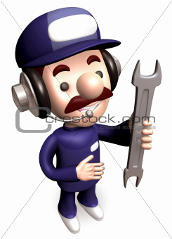 A Service Man carrying a spanner. 3D Kids Character Design