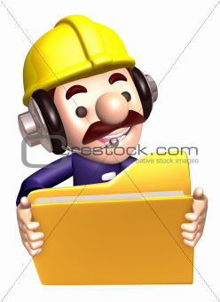 A construction staff hand Grasp the folder. 3D Works Character Design