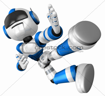 The blue robot on kicks. 3D Robot Character Design