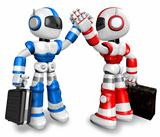 blue robot and red robot gave each other high fives. 3D Robot Character Design