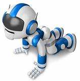 The blue robot hit the dirt. 3D Robot Character Design
