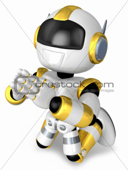 Prayer and Gold Robot. 3D Robot Character Design