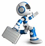 Ran the Blue Robot holding a briefcase. 3D Robot Character Design