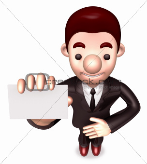Friendly service man showing a business card. 3D Warrantee Service Man Character Design