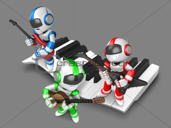 Playing the guitar is a blue robot with red robot and green robot. 3D Robot Character Design