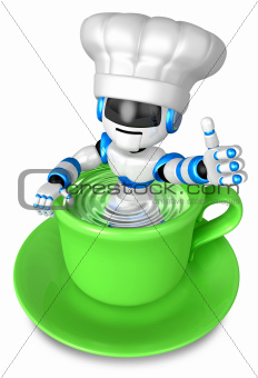 A big cup in the best blue chef robot gestures. 3D Robot Character Design