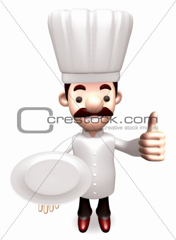 Gestures chef holding empty plate to the top. 3D Chef Character Design