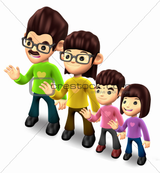 Four families of welcome that gesture. 3D Family Character Design
