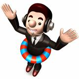 A swimming tubes in Men in suits. 3D Warrantee Service Man Character Design