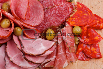 Arrangement of Meat delicatessen