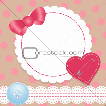 Birthday card with heart,lace and bow. Contains a gradient mesh.