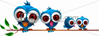cute blue bird cartoon family