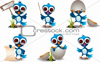 cute blue bird cartoon collection