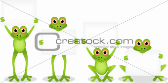 frog cartoon collection with blank sign