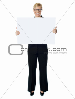 Smiling young lady holding blank banner ad
