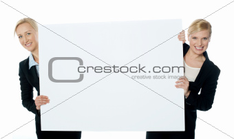 Female business representatives presenting blank banner ad