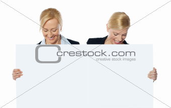 Female business executives looking at blank banner ad