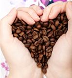Heart coffee grains