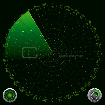 Detailed Illustration of a Radar Screen