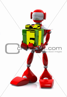 robot with a gift