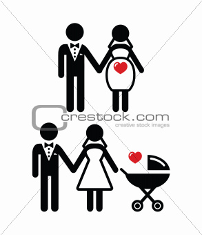 Pregnant bride icon / bride with pram vector